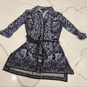 WHBM Blue Paisley Collared Tunic Blouse
